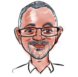 Caricature of John Berry, Kingsley Roofing estimator